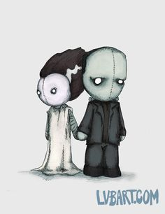 Halloween Drawings, Halloween Art, Arte Horror, Horror Art, Realistic Drawings, Cute Drawings, Memes Arte, Tim Burton Art, Bride Of Frankenstein