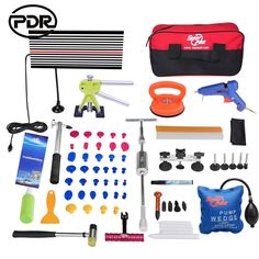 149.77$  Know more - http://aiyyl.worlditems.win/all/product.php?id=32802255610 - PDR Tools Paintless Dent Repair Tools Car Body Repair Kit Dent Removal LED Lamp Dent Lifter Tool Set