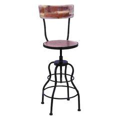 Woodland Imports 55925 Old Look Adjustable Bar Stool - Home Furniture Showroom