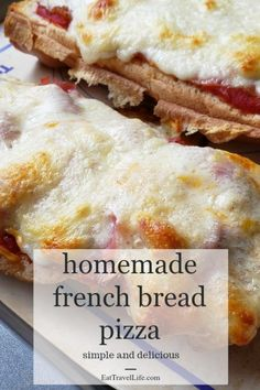 Looking for an inexpensive meal? Consider making homemade french bread pizza. Perfect dish that only requires some fresh bread on hand a few leftovers for ingredients and you've got a delicious homemade pizza. #pizza #homemadepizza #frenchbreadpizza #easypizza #quickpizza #easyfrenchbreadpizza #homemadefrenchbreadpizza #pizzaideas #frenchbreadpizzaideas #easypizzaideas #besteasypizza #bestfrenchbreadpizza Pork Recipes For Dinner, Pizza Recipes, Grilling Recipes, Weeknight Recipes, Bread Recipes, Homemade French Bread, French Bread Pizza, Best Party Food, Inexpensive Meals