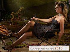 Robe Demoiselle d'Honneur Bustier Conception A-ligne Sans Manche