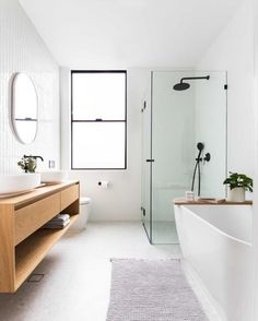 clean, minimal bathroom inspiration // black framed windows and class with white. - clean, minimal bathroom inspiration // black framed windows and class with white walls and warm woo - Bad Inspiration, Bathroom Inspiration, Bathroom Inspo, Bathroom Styling, Bathroom Updates, Minimal Bathroom, Laundry In Bathroom, Gold Bathroom, Bathroom Vanities