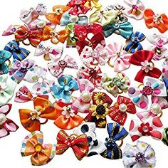 VLUNT 50 pcs/pack Pet Dog Hair Bows Rubber Bands Cute Dog Rhinestone Pearls Flowers Handmade Hair Accessories Mixed Ribbon Bow Pet Grooming Products