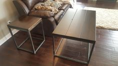 """James+James: Custom Steel Based End Table (18"""" x 18"""" x 24"""" H) and matching Coffee Table (48"""" x 27"""" x 21"""" H) with Kona stained tops with a satin finish."""