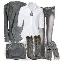 Grey Cowgirl :) however I'd throw a pop of burnt orange or teal in a pair if earrings or necklace or ring!