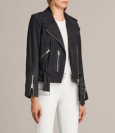 The best selling Balfern Biker Jacket is cut in a slim fit and crafted from a new soft suede. Finished with classic motorcycle-inspired details including zip cuffs and a belted hem, this biker silhouette is an all-time favourite, loved for its timeless style and flattering fit.Press stud lapels.Press stud epaulettes.3 zip pockets.Zip cuffs.Asymmetric zip fastening.Buckle belt at the hem.AllSaints logo-engraved zips.Soft, supple suede.Fully lined for comfort and fit. SIZE & FIT  Regular fi...