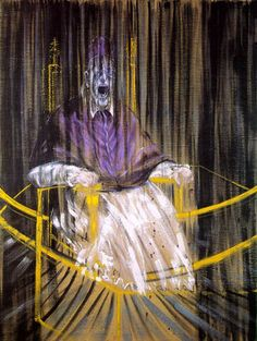 This painting has always freaked me out.  Study after Velazquez's Portrait of Pope Innocent X Francis Bacon