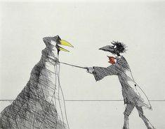 "Paul Flora ""Monsieur Corbeau und eine verhüllte Figur"" Radierung 42 x 47 cm Paul Flora, Postmodernism, Austria, Modern Contemporary, Theater, Black And White, Abstract, Creative, Inspiration"