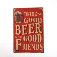 Plaque Décoration de Bar Chambre Style Rétro DRINK GOOD BEER GOOD