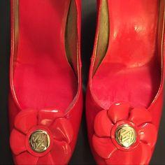 Anne Klein Red patent leather heals Anne Klein red heals patent leather with a gold Anne Klein embellishment on each shoe. Anne Klein Shoes Heels