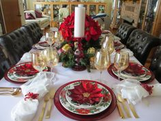 Poinsettia tablescape using inexpensive dishes