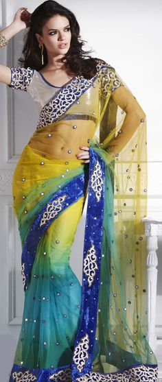 Yellow and Blue Net Saree with blouse @ $121.00