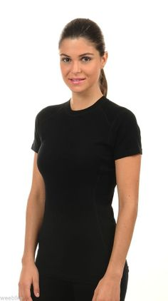Hasyun Womens 100% Merino Wool SHORT SLEEVE Base Layer All Sizes BLACK