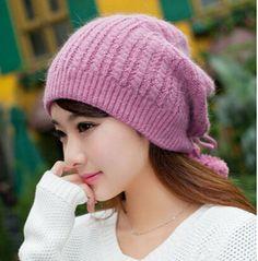 Autumn Rabbit fur knit hat for girls warm hair ball winter hats
