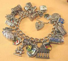 Vtg German Okterberfest Steins Iconic Statues Sterling Silver Charm Bracelet | eBay