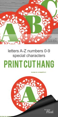 #Large #Alphabet and #Number #circles in #Christmas #red and ornate design - #printable #PDF file for party #garland and #DIY #Personalized #Banner, - instant download - by ArigigiPixel  Christamas banner letters - red circle with green letters 6,8 in size circles  PDF file - ready to print for A4