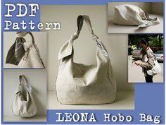 PDF Sewing Pattern to make Hobo Bag Sling Tote Leona INSTANT DOWNLOAD knot strap handbag by DelindaBoutique on Etsy https://www.etsy.com/listing/203826469/pdf-sewing-pattern-to-make-hobo-bag