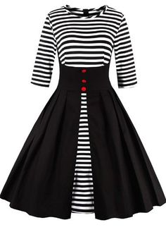 Vintage 50s Style Black and White Striped Swing Party Dress
