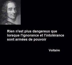 « Rien n'est plus dangereux que lorsque l'ignorance et l'intolérance sont armées de pouvoir » - Voltaire