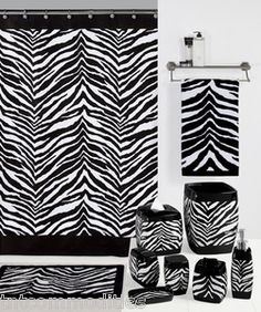 Zebra Shower Curtain and Bath Accessories by Creative Bath - Black and White Shower Curtains Animal Print Bathroom, Safari Bathroom, Zebra Bathroom Decor, Nursery Decor, Bedroom Decor, Zebra Print Bedding, White Zebra, Black White, Purple Zebra