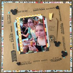 NSD 2017 Challenge: Humor Me!! Smiles all around as we ate our way around Epcot!! #nsd #nsd2017 #disneyscrappers #scrapbooking #mftstamps