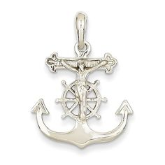 14k+White+Gold+Mariners+Crucifix+Cross+Charm+K2290