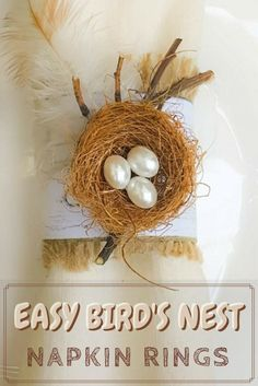 An easy and budget friendly craft tutorial for DIY bird's nest napkin rings using recycled materials is an inexpensive and beautiful way to make your own napkin ring holders! #craftsforkids #tabledecor #makeyourown