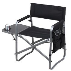 Picnic at Ascot Folding Sports Chair with Table & Organizer, Black