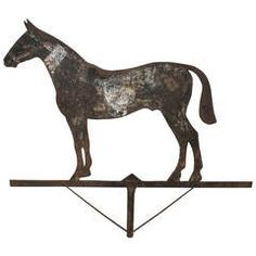 19th Century Iron Sheet Weathervane of a Horse with Traces of Paint