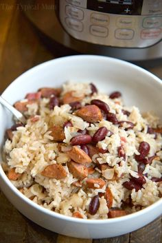 The best Instant Pot red beans and rice recipe ever! The easiest pressure cooker rice and beans I've made and my kids absolutely love it too!