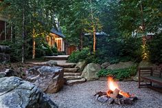 'Naturalistic' use of rock, pebbles, etc. around fire pit; backyard (Surrounds Landscape Architecture and Construction) Garden Fire Pit, Fire Pit Backyard, Backyard Patio, Backyard Ideas, Patio Ideas, Fire Pit Landscaping, Country Landscaping, Landscaping Ideas, Cool Fire Pits