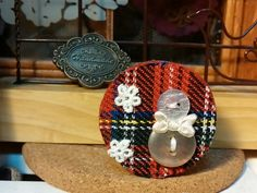 lovely fabric leftover in England style ..... snowman again ..... & it's a handmade wooden clip