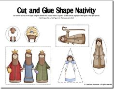 Simple Wooden Nativity Pattern | Cut and Glue Shape Nativity Set from 2 Teaching Mommies