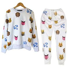 BrytCouture - Unisex Emoji Sweatpants Joggers and Sweater White - Set, US$74.99 (http://www.brytcouture.com/unisex-emoji-sweatpants-joggers-and-sweater-white-set/)