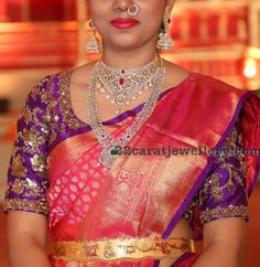 diamond and antique traditional grand wedding jewellery ideas and guests jewellery at Hasini Boinipally wedding Indian Bridal Sarees, Wedding Sari, Indian Wedding Jewelry, Bridal Sets, Blouse Designs, Party Wear, Jewellery, Choker, Jewels