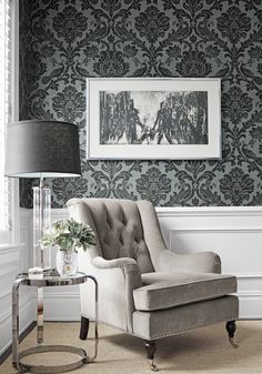 Newport Wing Chair from Thibaut Fine Furniture in Essex Velvet woven fabric in Flannel