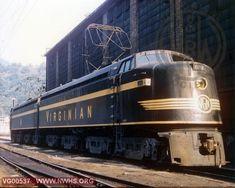 One of the beautiful Virginian Railroad GE built EL-2B Electrics at Princeton WV, mid 1950's....