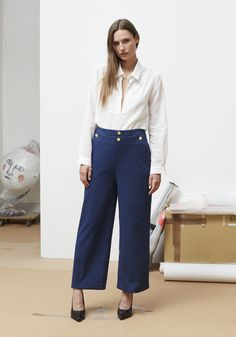 Rodebjer SS16: Top Daia White, Trousers Sally Blue, Shoes Charlotte Black.