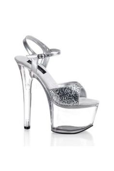 PleaserUSA PLSKY-310    SKY-310 Sexy Shoes - Sexy 6 3/4 Inch High Heel Shoes, Clear Heels with Glitter Front By Pleaser Shoes USA