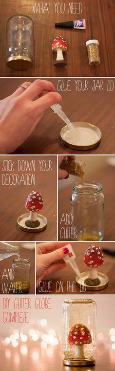 DIY Glitter Jam Jar Wedding Snow Globes Tutorial ~ UK Wedding Blog ~ Whimsical Wonderland Weddings