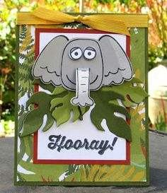 Stampin' Up! Playful Pals - Jungle Elephant by skdeleeuw - Cards and Paper Crafts at Splitcoaststampers Playful Pals Stampin Up, Baby Crafts To Make, Le Zoo, Baby Boy Cards, Get Well Cards, Animal Cards, Paper Cards, Kids Cards, Animals For Kids