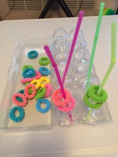 Sorting elastics by color of the straw, list of activities for toddlers, activit… – 2019 - Toddlers ideas, Activities For One Year Olds, List Of Activities, Toddler Learning Activities, Games For Toddlers, Montessori Toddler, Montessori Activities, Toddler Play, Infant Activities, Toddler Games