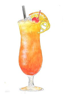 MaiTai Cocktail hand drawn watercolor illustration by RobertaTomei on Etsy