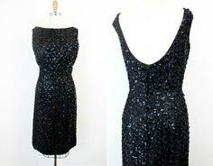 Vintage 1960s sequin dress . Bewitched . black sequin wiggle dress with open back . lg / large by VoyeurVintage on Etsy
