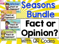 Fact and Opinion Fact and Opinion Bundle: This is a zipped file with 4 sets of Seasons themed Fact and Opinion task cards that can be used for helping students to determine the difference between fact or opinion. Each set has 24 Fact and Opinion task cards.