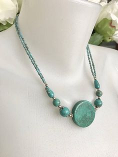 Statement necklace Coin turquoise necklace Beaded Necklace