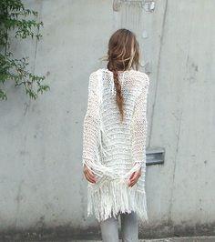 ivory bamboo fringe sweater by ileaiye on Etsy,