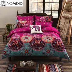 2018 Grey Flowers Print Bedding Set Winter Thick Sanding Cotton Queen King Size Duvet Cover Set Pillowcases Bedlinens Bedding
