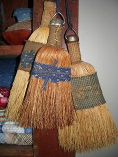 "Early antique style primitive  whisk brooms.... ""individualized"" by the delightful fabric treatment!!"