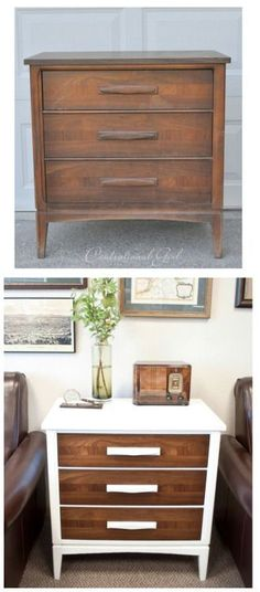 Great Dresser Re-Do : Centsational Girl A little paint goes a long way in this dress make-over from Centsational Girl. She found a lovely vintage dresser with Mid Century lines and painted the lamina